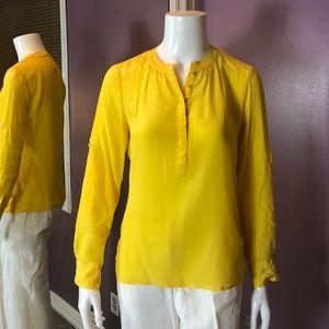 Banana Republic Petite 100% Silk Long Sleeve Top